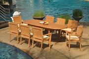 9pc Grade-a Teak Dining Set 94 Oval Table 8 Leveb Stacking Arm Chair Outdoor