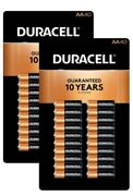 Duracell Aa Batteries 2 Packs X 40 Ct. Free Priority Shipping Coppertop Alkaline