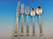 Windsor Rose By Watson Sterling Silver Flatware For 6 Set Service 33 Pieces
