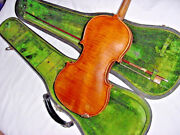 Antique German Violin Tiger Maple Back, With Old Case / Old Bow And History