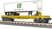 Mth Railking 30-76587 Moore Mccormack Lines Flat Car With Trailer O Gauge Trains