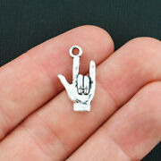 10 Hand Sign Charms Antique Silver Tone I Love You 2 Sided - Sc3764