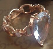 Amazing 18k Gold Topaz Diamond Ring Made In Italy Ultra Rare Sold Out