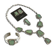 Vtg Museum Navajo Signed Marc Begay Turquoise And .925 Silver Jewelry Set