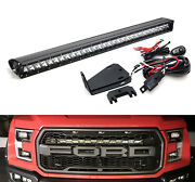 150w 30 Led Light Bar W/ Hidden Behind Grill Mounts Wiring For 17+ Ford Raptor