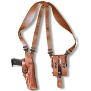 Leather Vertical Shoulder Holster Double Magazine Case Glock 30 With Rail 1018