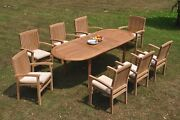 9pc Grade-a Teak Dining Set 94 Oval Table 8 Wave Stacking Arm Chair Outdoor