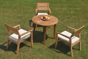 4pc Grade-a Teak Dining Set 36 Round Table 3 Vellore Stacking Arm Chair Outdoor