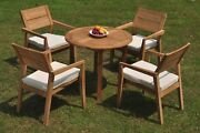5pc Grade-a Teak Dining Set 36 Round Table 4 Vellore Stacking Arm Chair Outdoor