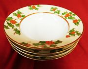 Fitz And Floyd 1981 Christmas Holly 8 Cereal Bowl - Set Of 4 - Mint