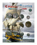Colonial America Pieces Of Eight Historical Museum Set On 8x10 Display Card-v