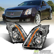 2008-2014 Cadillac Cts Ct-s Headlights Halogen Headlamps Replacement Left+right