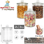 6pcs Small Thick Glass Mason Jars With Locking Cannister Style Airtight Lid