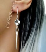 Needle Thread Sewing Earrings- Jewelry Gift For Women Her- 925 Silver Wires