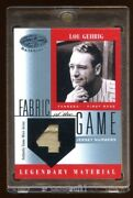Lou Gehrig 2001 Certified Game Patch Jersey D 3/4 Legendary Material Mlb Hof