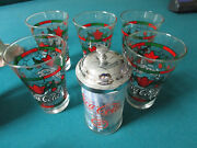 Coca Cola Glasses Tumblers Stained Glass Christmas Poinsettias Straw Holder