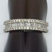 18ct White Gold Baguette And Brilliant Cut Diamond Ring Size N Approx 1.0 Carat