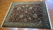 New 8and039 X 10and039 Hand Knotted Mahal Rug - 100 Wool Pile Made In India