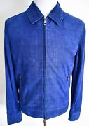 6730 Brioni Blue Thin Soft Perforated Suede Jacket Coat Size 50 Euro 40 Us