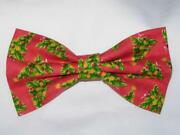 Christmas Bow Tie / Decorated Christmas Trees Tossed On Red / Pre-tied Bow Tie