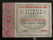1936 Berlin Olympics Germany Admission Ticket Jesse Owens Long Jump Gold Medal