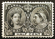 Canada 50 1/2cent Black 1897 Jubilee Issue Vf Mlh Small Thin Cv 150+