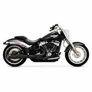 Vance And Hines Black Pro Pipe 2 Into 1 2-1 Exhaust Harley 2018+ Softail Fxbr Flfb