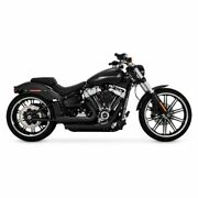 Vance And Hines Black Mini Grenades Exhaust Pipes Harley 2018+ Softail Fxbr Flfb