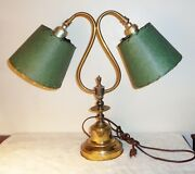 Vintage 3way Brass Piano Desk Table Bankers Student Lamp Green Fiberglass Shades