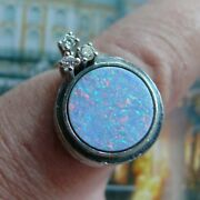 14 Karat 585 White Gold Large Oval Opal And 3 Diamonds Cocktail Ring Germany