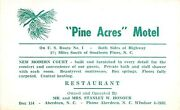 Southern Pines Nc Pine Acres Motel Owner Stanley Honour Of Aberdeen Postcard