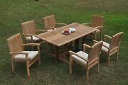 7pc Grade-a Teak Dining Set Warwick Console Rectangle Table Wave Stacking Chair