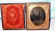 Civil War Soldier And Lady Tintype Photo July 4 1776 Inscribed On Bottom Of Photo