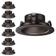 4 Inch Oil Rubbed Bronze Metal Step Baffle Trim, Recessed Can Light Trim, 6 Pcs