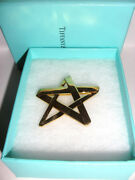 Vintage 1984 And Co. Paloma Picasso Modernist Big Star Pin Brooch 18k Gold