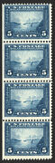 399 5c Blue 1913 Vf Pan Pacific Expo Mint Vertical Strip Of 4