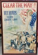 Original Vintage 1918 Wwi Poster Clear-the-way By Howard Chandler Christy