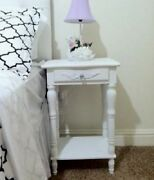 Antique Small Accent Side End Table Carved White Drawer Shelf Traditional Wood
