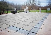 Loop Loc Gray Mesh Rectangle Swimming Pool Safety Covers W/ Center End Step