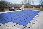Loop Loc Blue Mesh Rectangle Swimming Pool Safety Covers W/ Center End Step