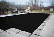 Loop Loc Black Mesh Rectangle Swimming Pool Safety Covers W/ Center End Step