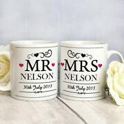 Personalised Wedding Gift Mr And Mrs Mugs Unique Modern Anniversary Present Idea