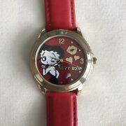Betty Boop Womenand039s Wristwatch Cartoon Character Red Band