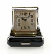 Rare 1920and039s Tissot And Fils Solid Silver Travel Clock