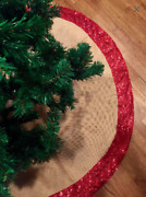 Red Sequin With Burlap Christmas Tree Skirt