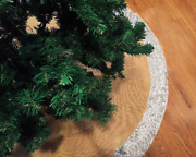 Silver Sequin With Burlap Christmas Tree Skirt