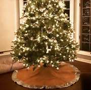 Shiny Silver Sequin With Burlap Christmas Tree Skirt