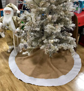 White Sequence With Burlap Christmas Tree Skirt