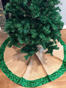 Green Sequin With Burlap Christmas Tree Skirt
