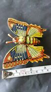 Vntg. Tin Toy Butterfly Metal Ruber Friction Powered Mechanical Germany Gdr Ussr